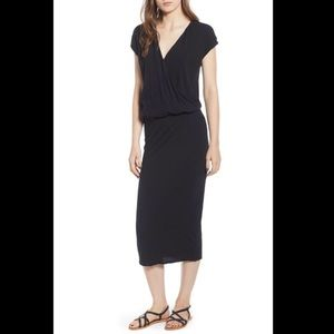 JAMES PERSE Surplice Jersey Blouson Dress In Black